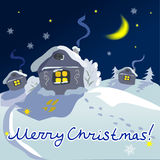 Christmas winter rural landscape. Night Stock Photography