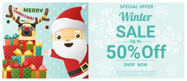 Christmas winter sale banner with Santa Claus and dog wearing reindeer costume Royalty Free Stock Photo