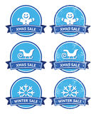 Christmas and winter sale retro labels Royalty Free Stock Images