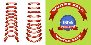 Christmas and winter sale retro labels set ,flat style. Christmas and winter sale retro labels set. Flat set of 21 sale badges vector icon for web Royalty Free Stock Images