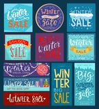 Christmas winter sale vector saleable wintertime Xmas advertisement shopping big offer banner to buy gifts advertising. Christmas winter sale vector saleable Royalty Free Stock Images