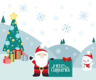 Christmas winter scene Santa Claus with presents. A winter scene with Santa Claus holding a merry Christmas banner, with snowman and a Christmas tree. On the vector illustration