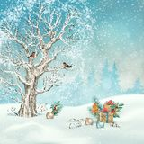 Christmas winter scene royalty free illustration