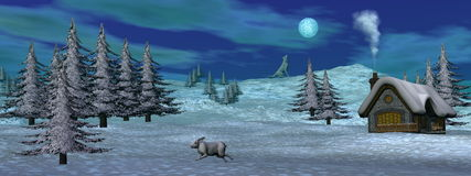 Christmas winter scenic - 3D render Royalty Free Stock Photography