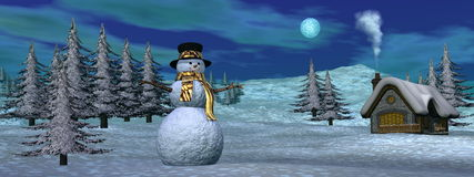 Christmas winter scenic - 3D render Royalty Free Stock Image