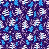Christmas and winter seamless pattern in blue color. Background Royalty Free Stock Images