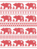 Christmas  winter seamless pattern in cross stitch style with polar bears with snowflake, star, heart, tree, gift and ornaments. Scandinavian style and Nordic Royalty Free Stock Images