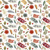 Christmas winter seamless pattern with flowers, leaves, branch, berries, poinsettia.