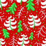 Christmas and winter seamless pattern in red and green colors. B Royalty Free Stock Images