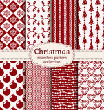 Christmas and winter seamless patterns. Vector set. Merry Christmas and Happy New Year! Set of holiday backgrounds. Collection of seamless patterns with red and Royalty Free Stock Image