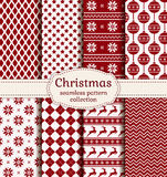 Christmas and winter seamless patterns. Vector set. Merry Christmas and Happy New Year! Set of winter holiday backgrounds. Collection of seamless patterns with Stock Image
