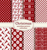 Christmas and winter seamless patterns. Vector set. Merry Christmas and Happy New Year! Set of holiday backgrounds. Collection of seamless patterns with red and Stock Illustration