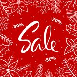 Christmas winter seasonal sale background. With xmas foliage Stock Image