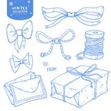 Christmas winter set gift, bow, ribbons, letters, twine stock illustration