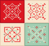 Christmas and Winter set knitted pattern with snowflakes Stock Photography