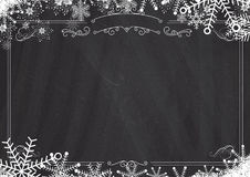 Christmas winter snowflake retro border and blackboard textured Royalty Free Stock Photo