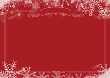 Christmas winter snowflake retro border and red textured backgro Royalty Free Stock Photo