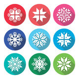 Christmas, winter snowflakes flat design icons set Stock Images
