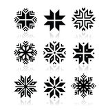 Christmas, winter snowflakes  icons set. Snowflakes icons set with reflection isolated on white Stock Photography