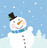 Christmas winter snowman background Stock Photography