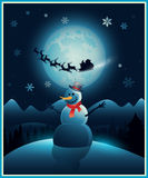 Christmas winter snowman background greeting card Royalty Free Stock Photos