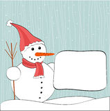 Christmas winter snowman and billboard Stock Photos