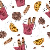 Christmas winter spice. Decorative vector seamless pattern with spices and ingredients for mulled wine. Orange, cranberry, cinnamo. N, star anise, cardamom and stock illustration