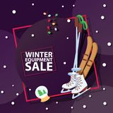 Christmas winter sport goods equipment sale vector saleable wintertime Xmas advertisement shopping time big Sales offer. Banner to buy gifts advertising flyer vector illustration