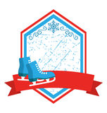 Christmas Winter Sport Label Icons Flat with Skates  on Stock Photo