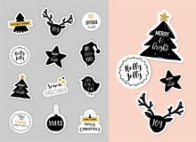 Christmas winter stickers and patches with lettering Royalty Free Stock Image