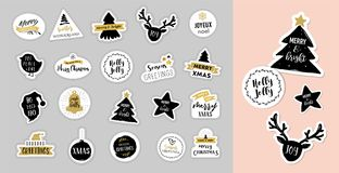 Christmas winter design elements and patches with lettering Stock Images