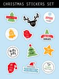 Christmas winter stickers set Stock Photo