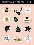 Christmas retro stickers set Royalty Free Stock Photography