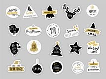Christmas winter stickers set, labels and  tags Royalty Free Stock Photo