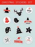 Christmas winter stickers set, labels, tags, and patches with lettering Stock Images
