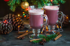 Christmas winter sweet hot alcohol drink mulled red wine Royalty Free Stock Images