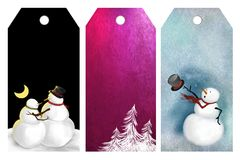 Christmas or winter tags. Set of tags or labels with Christmas or winter scenes of trees and snowman vector illustration