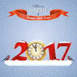 Christmas Winter template. Happy new year and merry Christmas Winter template for greeting and postal card, invitation, 2017 with clock Stock Photo