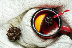 Christmas and winter traditional hot beverage. Mulled wine. Royalty Free Stock Photo