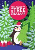Christmas winter tree bazaar sale vector saleable wintertime Xmas advertisement shopping time big Sales offer banner to. Buy gifts tree advertising flyer with vector illustration