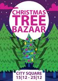Christmas winter tree bazaar sale vector saleable wintertime Xmas advertisement shopping time big Sales offer banner to. Buy gifts advertising flyer vector vector illustration
