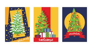 Christmas winter tree bazaar sale vector saleable wintertime Xmas advertisement shopping time big Sales offer banner to. Buy gifts advertising flyer vector stock illustration