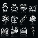 Christmas, winter white icons with stroke on black Stock Images