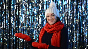Christmas winter woman showing blank copy space stock video footage