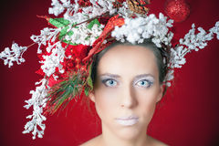 Christmas winter woman with tree hairstyle and makeup, fashion model Royalty Free Stock Photos
