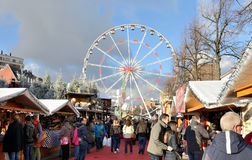 Christmas Winter Wonders market in Brussels. BRUSSELS, BELGIUM-DECEMBER 6, 2014: Christmas market on square Vismet is very popular attraction for tourists and Royalty Free Stock Photos