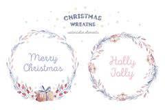 Christmas winter wreath card. Watercolor holiday decoration painting with hand lettering. Berry wreaths for Merry stock photo