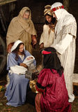 Christmas wisemen. Live Christmas nativity scene reenacted in a medieval barn Stock Image