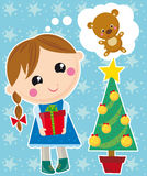 Christmas wish. Illustration of little girl thinking christmas wish Stock Image