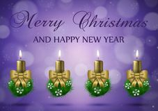 Christmas wish card  with candles  in gold nad purple vector ill Royalty Free Stock Photography